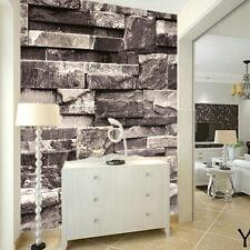 3D Effect Natural Embossed Stack Stone Brick Tile Vinyl Wallpaper Decor Gray UK