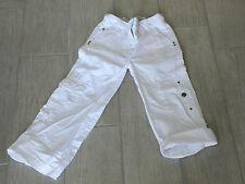 355 - pantalon transformable en pantacourt neuf 4 ans toile blanc OKAIDI cargo