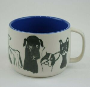 "Anthropologie ""Dog Person"" Stoneware Dog Coffee Tea Mug Off White W/ Blue Inside"