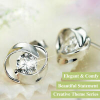 925 Sterling Silver Flower Swirl Rotating Round Zirconia Crystal Stud Earrings