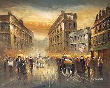 Vintage New York Street, Original Oil Painting, 61 X 51 Cm