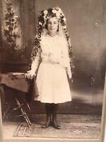 Vintage Photo Photograph School Girl Dress Bride  Portrait Flowers 1900s Studio