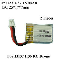 2x 651723 150mAh 3.7V 15C Battery For JJRC H36 RC Quadcopter Drone Toys Warranty