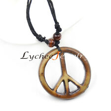 Vintage Love Peace Symbol Pendant Necklace Beads Casual Jewelry Free Shipping