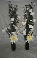 Set 2 Black Artificial Flower Displays in Glass Jars 60 Cm Tall Wedding Tables