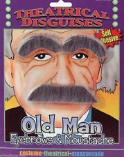 OLD MAN GRAY EYEBROWS & MUSTACHE Albert Einstein Stick On Fake Mad Scientist Gag