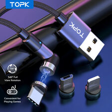 Topk 540° L Shape Magnetic Charging Type-C Micro USB Charger Cable For Samsung