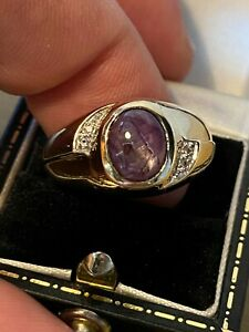gorgeous HEAVY Mens Gents 9ct Gold Star Sapphire & Diamond ring WOW