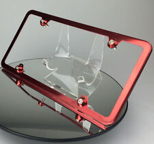 Candy Red 4 Hole Slim Stainless Plate Frame w/ Aluminum Circle Type Screw Caps