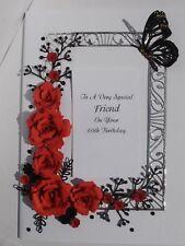 Personalised Handmade Birthday/Anniversary/Ruby Wedding Card Red/ Black Roses
