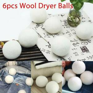 6cm 6Pcs Natural Reusable Laundry Clean Pactical Home Wool Tumble Dryer Balls UK