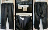 "16 FIT 14 - Women JONES NEW YORK 100% leather black straight pant INSEAM 28 1/2"""