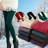 Women Solid Winter Thick Warm Fleece Lined Thermal Stretchy Leggings Pants Slim