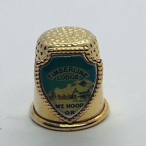 Timberline Lodge Mt Hood Oregon Souvenir Gold Tone Metal Thimble