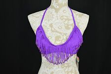 Raisins Women Medium Purple Fringe Halter Top Beaded NEW Bikini Swimwear Bathing