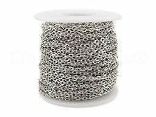 Rolo Chain Roll  30 Feet Antique Silver Platinum Color 3x4mm Link Bulk Spool