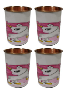 Designer Set of four100% copper heavy duty glass with printing From India