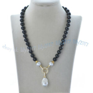 10mm Black Agate & Natural White Keshi Baroque Pearl Pendant Necklace 16-28''