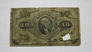 1863 $.10 Second Issue Fractional Currency Obsolete Bank Note Bill! 2nd RARE!