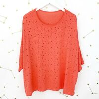 Planet Lauren G Sweater One Size Coral Pink Burnholes Perforated Oversized Top
