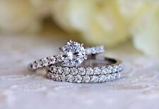 Certified 2.13Ct White Round Diamond Trio Set Engagement Ring in 14k White Gold