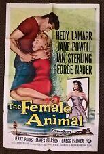 THE FEMALE ANIMAL - 1958 ORIGINAL  US 1 SHEET CINEMA  POSTER 41 X 27