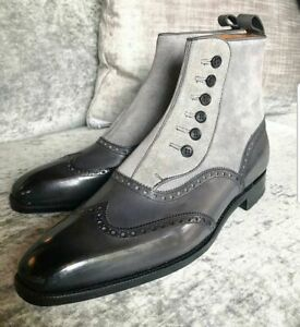 New Handmade Pure Dark Gray Leather & Gray Suede Button Boots for Men's