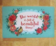 Green White Floral Shabby Chic Bird Pink Roses Welcome Door Mat Beautiful Things