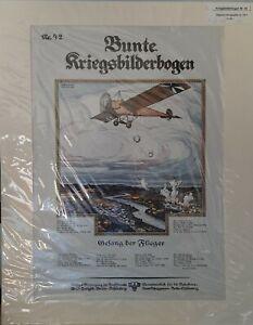 Bunte Kriegsbilderbogen, Nr. 42, Gesang der Flieger - Lithographie von ca. 1917