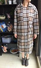 Camel Vintage Checkered Long Double Breasted Woolen Jacket Coat M 10