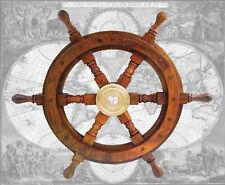 Hochprofessionell verarbeitetes Steuerrad Schiffssteuerrad aus Hartholz, Ø 46cm