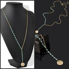 Women Fashion Jewelry Ladies Turquoise Beads Pendant Long Chain Chunky Necklace