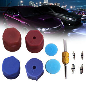 R134a Auto Car Air Conditioning Valve Core A/C System Caps Kits & Remover Tool