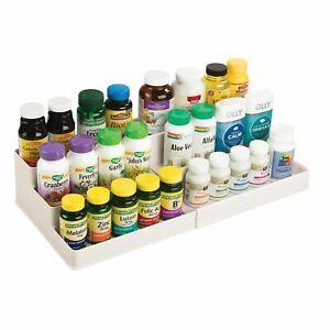 mDesign Expandable Vitamin Rack, Bathroom Storage Organizer - Cream/Beige