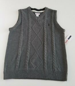IZOD Big Boys Vest Sweater V-Neck Cable Knit (4 Sizes) (2 Colors) NEW