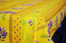 """LE CLUNY, LAVENDER YELLOW FRENCH PROVENCE COATED COTTON TABLECLOTH, 60"""" X 120"""""""