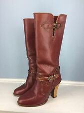 Vintage ZODIAC Red Brown Leather Mid Calf Wooden High Heel Boots 5.5 Cowboy