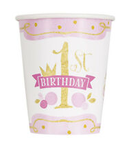 1st BIRTHDAY Pink and Gold 9oz PAPER CUPS (8) ~ First Party Supplies Beverage