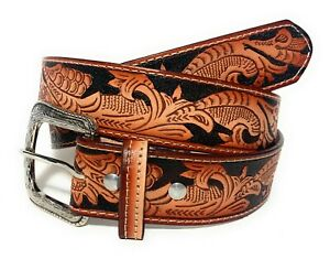 "EMBOSSED 1 5/8"" WIDE WESTERN COWBOY RODEO BELT  GENUINE LEATHER ENGRAVED BELT"