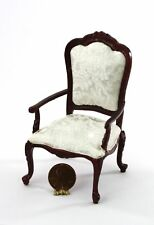 Dollhouse Miniature Mahogany Hand Carved Chair in White Damask Silk Upholstery