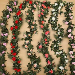 2.5m Artificial Flower Silk Rose Leaf Garland Vine Ivy Home Garden Décor