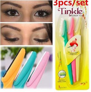 Eyebrow Razor Trimmer Shaper Dermaplaning Blades Facial Hair Shaver 3 Pcs Set