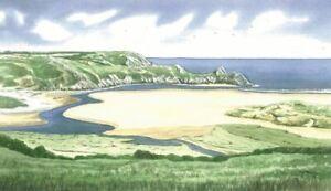 Three Cliffs Bay Beach, Gower, Swansea - Greetings Card - Tony Paultyn