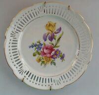 "Vintage Schwarzenhammer Bavaria Germany US Zone Lattice Floral 6 3/4"" Plate"
