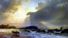 Oil painting Beach of the Baltic Sea seascape with waves and carriage on canvas