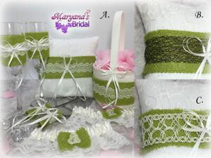 Burlap Lace Ivory Green Moss Ring Pillow Holder & Flower Girl Basket Wedding Set