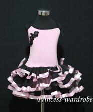 Light Pink Ballet Leotard Black Pink Tutu Dress 2-7Y