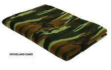 "Polar Fleece Throw Blanket 60"" X 80""  WOODLAND CAMO Camo US Army USMC Camping"