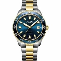 Rotary Mens Henley Two Tone Bracelet Blue Dial Watch GB05131/05 RRP £365