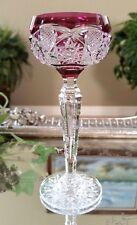 Rare!! VAL ST LAMBERT Amethyst Purple Cut to Clear Crystal Liqueur Cordial Glass